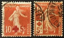 YT 146 147 (°) Oblitéré 1914, Semeuse Fond Plein 10c+5c Croix-rouge (côte 10 Euros) France – 6bleu - 1906-38 Semeuse Camée