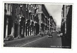 8913 - GENOVA VIA XX SETTEMBRE ANIMATA AUTOMOBILI AUTOBUS 1950 CIRCA - Genova (Genoa)