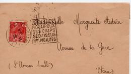 """Lettre Oblitération Daguin """"Labastide Rouairoux Ses Draps Ses Tissus  Nouveautés"""" Sur Timbre Expo Coloniale (YT 272) - 1921-1960: Moderne"""