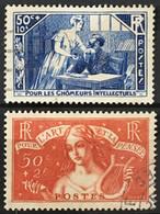 YT 307 Et 308 (°) Obl 1935 Chômeurs Intellectuels (côte 58 Euros) France – 6bleu - Used Stamps