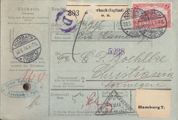 DR Paketkarte EF Minr.94AI Auerbach 30.5.14 Gel. Nach Norwegen Mit Rückseitig Zollerklärung Anhängend - Cartas