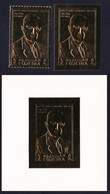 Fujeira Dwight Eisenhower Gold Foil 2 Stamps+MS 1969 MNH MI#373A+B - Fujeira