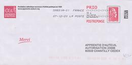 Postréponse Prio Marianne L'engagée Apprentis D'Auteuil Oblitéré Lot 260660 - Prêts-à-poster: Réponse