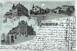 Suisse, Litho Pionnière Illustrée Entre 1894 Et 1898  Gruss Aus Dem Kirchenfeld Bern, 3 Vues, éd Lüthy Papeterie - BE Berne