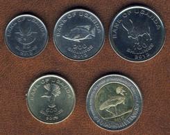Uganda 50, 100, 200, 500, 1000 Shillings 2008-2012 Set 5, Fauna, KM#, Unc - Uganda