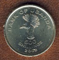Uganda 500 Shillings 2008, East African Crowned Crane Bird, KM#69, Unc - Uganda
