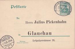 ALLEMAGNE 1905  ENTIER POSTAL/GANZSACHE/POSTAL STATIONARY CARTE ZUGSTEMPEL ST.EGIDIEN-STOLLBERG - Cartas
