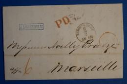 L19 ALLEMAGNE BELLE LETTRE 1867 HAMBURG POUR MARSEILLE PAR PARIS FRANCE+ PD ROUGE +AFFRANCH INTERESSANT - Vorphilatelie