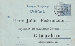 ALLEMAGNE 1900 ENTIER POSTAL/GANZSACHE/POSTAL STATIONARY CARTE DE GLAUCHAU - Cartas