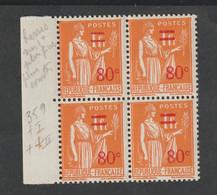 Variétés - 1937  - Type Paix   - N° 359 -   I Et II  -  80 C S. 1 F Orange  -  3 Neufs Sans Charnière  -1 Avec Charnière - 1871-1875 Cérès