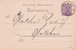 ALLEMAGNE 1889 ENTIER POSTAL/GANZSACHE/POSTAL STATIONARY CARTE DE REMSE - Cartas