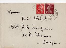 """Lettre Oblitération Daguin """"St Amans Soult Ses Tuiles Ses Briques """" Sur Timbre Type Paix  (YT 283) Type Semeuses (YT189) - 1921-1960: Periodo Moderno"""