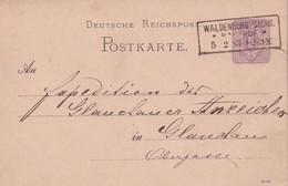 ALLEMAGNE 1883  ENTIER POSTAL/GANZSACHE/POSTAL STATIONARY CARTE DE WALDENBURG - Cartas