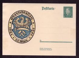 DR Sonderpostkarte P190 Volksabstimmung In Oberschlesien - Ungebraucht - Enteros Postales