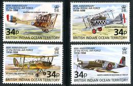 Océan Indien British Indian Ocean 1998 RAF 80 Ans Mustang, Sopwith Baby, Tiger Moth (YT BF 11, Gibbons MS 219 ) - Airplanes