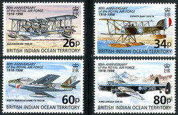 Océan Indien British Indian Ocean 1998 RAF NA Sabre, Avro Lincoln, Gloster Gamecock (YT 207, Mi 219, Gibbons 215 ) - Airplanes
