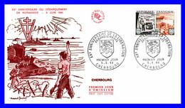 1409 (Yvert) Sur FDC Illustrée (GF-PJ) Cherbourg - Vingtième Anniversaire De La Libération Débarquements - France 1964 - 1960-1969