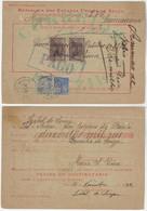 Brazil 1932 Money Order From Cannavieiras To Bahia Vale Postal Stamp 10$000 Réis + Vovó 500 And 5$000 Réis - Briefe U. Dokumente