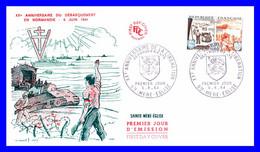 1409 (Yvert) Sur FDC Illustrée (GF-PJ) Sainte-Mère-Église  20e Anniversaire De La Libération Débarquements - France 1964 - 1960-1969