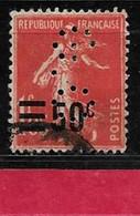 @  Perfin France Perfore G.O 102  Indice 9 Sur Semeuse Surchargée - Perforés