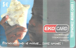 CARTE²PREPAYEE-DOM TOM-EKOCARD-5€-ENFANT COQUILLAGE--20000Ex-TBE-RARE - Tarjetas Prepagadas: Otras