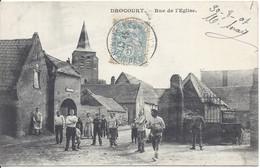 Pas De Calais DROCOURT Rue De L'église. Carte Animée. Cachet Hénin-Liétard 1907 - Andere Gemeenten