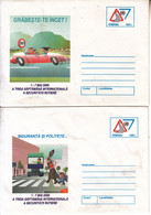 ROMANIA 2000: TRAFFIC SAFFETY WEEK, 2 Unused Prepaid Stationery Covers - Registered Sending! - Postal Stationery