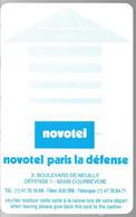 CLE²-MAGNETIQUE-NOVOTEL -PARIS La DEFENSE-Cle FontaineTBE - Tarjetas-llave De Hotel