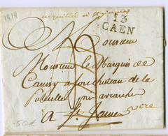 """E8- 13/CAEN  Calvados Pour St- James, Acquittée à St- James"""" = Déboursé De St James  Et Réexpédiée à Vire 1814  Manche - 1801-1848: Precursori XIX"""