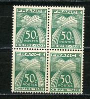 FRANCE - TAXE  - N° Yvert 69** BLOC DE 4 - 1859-1955 Neufs