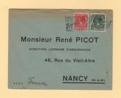 Pays Bas - Amsterdam - 1938 - Enveloppe Reponse Destination Nancy - Poststempel