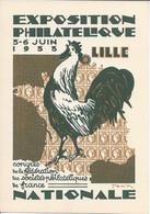 Entier Postal Timbré Sur Commande Exposition Philatélique Lille 1933 20c Semeuse. Illustration Coq Timbre Et Cérès - Standard Covers & Stamped On Demand (before 1995)