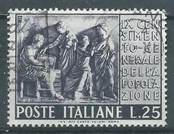 Italie YT N°614 Recensement Général De La Population Oblitéré ° - 1946-60: Gebraucht