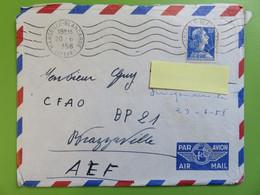 Enveloppe Par Avion France Vers Brazzaville - Tampon Marseille - YT 1011B Marianne Muller 20 F - Cachet 20.06.1958 - Mechanical Postmarks (Other)