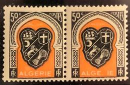 """ALGERIE 1947 - YT255** - Armoirie D'Alger - Variété """"Bavure Sur Le Mot """"ALGERIE"""" - """"R"""" Absent - """"ALGE.IE"""" - Paire - Neufs"""