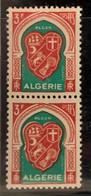 """ALGERIE 1947 - YT261** - Armoirie D'Alger - Variété """"Bavure Sur Le Mot """"POSTES"""" - """"P"""" De Poste Absent"""" - Paire - Neufs"""
