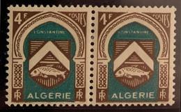 """ALGERIE 1947 - YT263** - Armoirie De Constantine - Variété """"Sans Barre Horizontale Du 4 = 1"""" - Paire - Neufs"""