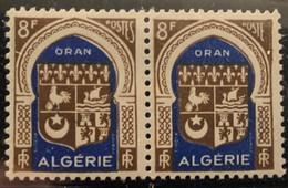 """ALGERIE 1948 - YT269** - Armoirie D'Oran - Variété """"Bavure Sur Le Nom De """"POSTES"""", Deuxième S Absent""""  - Paire - Neufs"""