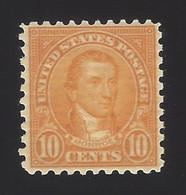 US #591 1923-26 Orange Unwmk Perf 10 Mint OG LH VF Scv $45 - Ungebraucht
