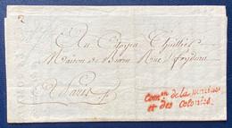 """✉️ FRANCE MP DE FRANCHISE  """" COMon DE LA MARINE ET DES COLONIES """" EN ROUGE, Au Citoyen THUILLIER 29 Germinal An 3 (1795) - 1701-1800: Precursori XVIII"""