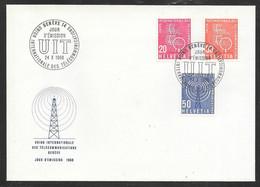 Switzerland / United Nations Geneva - 1975 ITU / UIT Broadcast Tower & Antenna 3v FDC - FDC