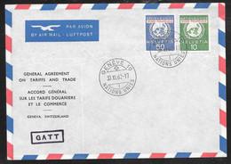 Switzerland / United Nations Geneva - 1962 GATT Treaty Cover - Postal Museum Stamps - Covers & Documents