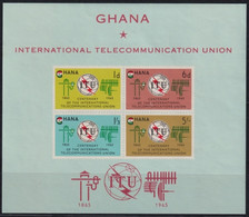 F-EX23022 GHANA MNH 1965 CENTENARY OF ITU TELECOMMINICATIONS UNION - Ghana (1957-...)