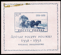 Poland 1958 Polish Postal Services Souvenir Sheet (grease Stain In Margin) Unmounted Mint. - Unused Stamps
