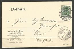 GERMANY. 1908. CARD. FRANKFURT TO WERL. LUDWIG & FRIES – WATCHES, CLOCKS - Cartas