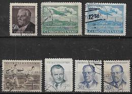 1950-2 Checoslovaquia 7v. Personajes-deporte-avion - Gebraucht