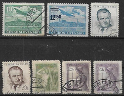1953-4 Checoslovaquia 7v. Personajes-oficio-avion - Gebraucht