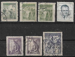 1954 Checoslovaquia 7v. Oficios-personaje-congreso Rural - Gebraucht