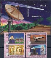 Sierra-Leone, 1986, Halley's Comet, 4 Stamps + Block - Africa