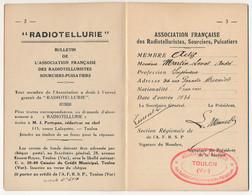 FRANCE - Association Française Radiotelluristes Sourciers-Puisatiers - Mini Brochure Statuts Et Identité - Toulon 1934 - Altri